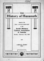 History of Hazanuth: Excerpts