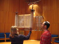 Lifting the Torah after it is read at HUC--JIR in NY
