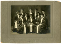 02.004.02 Partially identified group photo of Wesleyan alumnae in cap and gown (Clara Angus, Margaret Crawford, and Agnes Thompson)