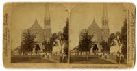 02.005.01 Unidentified stereograph photo of men and women exiting Memorial Chapel