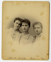 02.005.05 Group photo of Wesleyan women in the class of 1892 (Lena Adams, Eva Dilks, and Lillian Hart)