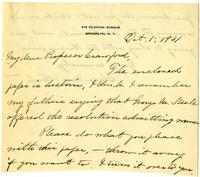 Clara Van Vleck letter to Professor Crawford regarding an enclosed note written by Reverend George Steele, p. 1