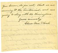 Clara Van Vleck letter to Professor Crawford regarding an enclosed note written by Reverend George Steele, p. 2