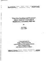 'Their Own Guardians and Protectors': African American Community in Middletown, Connecticut, 1822-1860