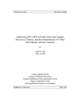 Addressing HIV/AIDS in South Africa and Uganda: Successes, Failures, and Recommendations for Other Sub-Saharan African Countries