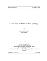 A Critical History of Mindfulness-Based Psychology
