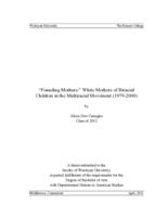 """Founding Mothers:"" White Mothers of Biracial Children in the Multiracial Movement (1979-2000)"