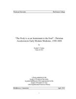 """The Body is as an Instrument to the Soul"": Christian Asceticism in Early Modern Medicine, 1550-1800"