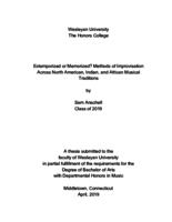 Extemporized or Memorized? Methods of Improvisation Across North American, Indian, and African Musical Traditions