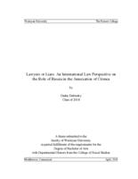 Lawyers or Liars: An International Law Perspective on the Role of Russia in the Annexation of Crimea