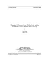 Managing Difference Away: Public Order and the Construction of the Other in French Society