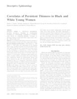 Correlates of Persistent Thinness in Black and White Young Women