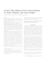 Factors That Influence Food Amount Ratings by White, Hispanic, and Asian Samples
