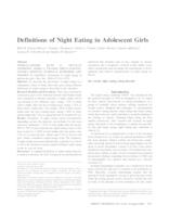 Definitions of Night Eating in Adolescent Girls