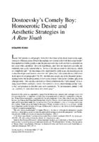 Dostoevsky's Comely Boy: Homoerotic Desire and Aesthetic Strategies in A Raw Youth