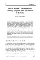 What If We Don't Know Our Clan? The City as New Ritual Form in Buriatiia