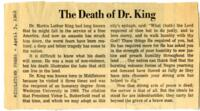 "026 - Middletown Press, ""The Death of Dr. King,"" April 5, 1968"