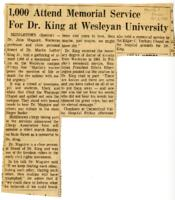 "027 - Hartford Courant, ""1,000 Attend Memorial Service for Dr. King at Wesleyan University"" and ""King Memorial,"" April 6, 1968"