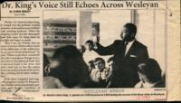 "031 - Argus, ""Dr. King's Voice Still Echoes Across Wesleyan,"" January 17, 1997"