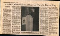 "032 - Hartford Courant, ""Alumna Offers Wesleyan Students Ways to Honor King"", February 3, 1999"