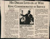 "033 - Argus, ""His Dream Lives on at Wes: King Commemorated in Service,"" January 22, 1999"