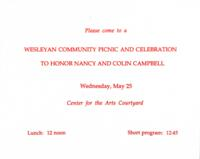 003 - Invitation to Wesleyan Community Picnic and Celebration to Honor Nancy and Colin Campbell