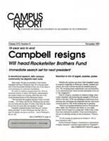 "020 - ""Campbell resigns,"" Campus Report, November 1987"