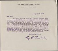 01.001.001 Form letter, August 27, 1919, from Roy B. Chamberlin (World War I service records, Box 01, Folder 001)