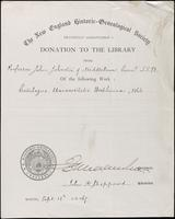 Record of donation to The New England Historic-Genealogical Society
