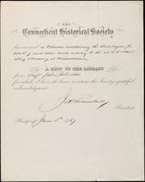 Record of donation to The Connecticut Historical Society