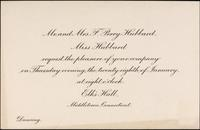Invitation from Mr. and Mrs. F. Perry Hubbard and Miss Hubbard to an event at the Elk's Hall in Middletown, Connecticut for January 28.
