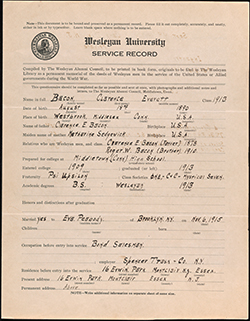 Wesleyan University World War I service records, 1919-1922