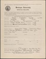 World War I service record for Lawrence Coffin Ames, p. 1