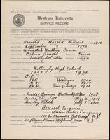 01.001.022 World War I service record for Harold DeForest Arnold