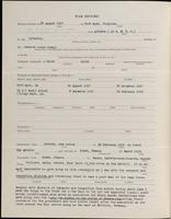World War I Service Record for Frank Mapes Ham, p. 2
