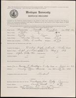 02.007.024 World War I service record for Everette Dunbar Marvin